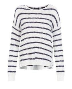 Blue Stripe Lace Trim Slub Jumper  | New Look