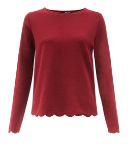 Tall Burgundy Scallop Hem Long Sleeve Top  | New Look