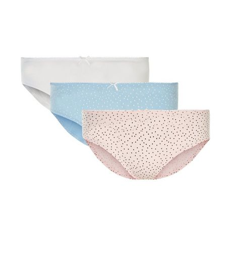 Teens 3 Pack Blue Pink and White Spot Print Briefs | New Look