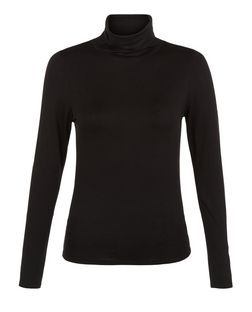 Petite Black Roll Neck Long Sleeve Top  | New Look