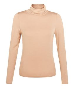 Petite Camel Roll Neck Long Sleeve Top  | New Look