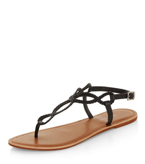 Black Leather Twist Plait Sandals  | New Look