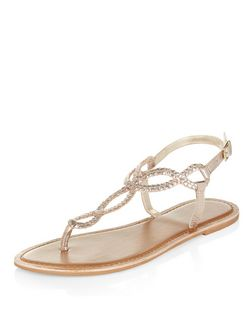 Gold Leather Twist Plait Sandals  | New Look