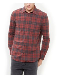 Red Check Single Pocket Long Sleeve Shirt  | New Look