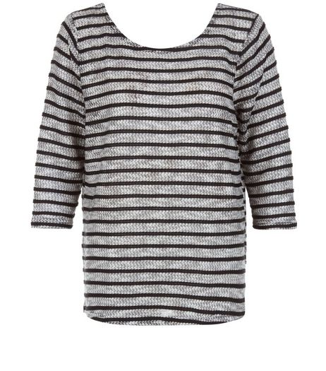 Navy Fine Knit Stripe Zip Back 3/4 Sleeve Top  | New Look