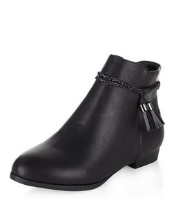 Black Leather-Look Plaited Tassel Strap Ankle Boots | New Look