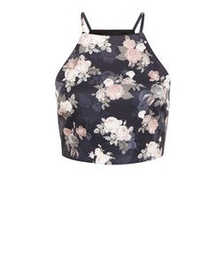 Black Floral Print Scuba Crop Top | New Look