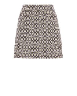 Blue Daisy Jacquard Mini Skirt  | New Look