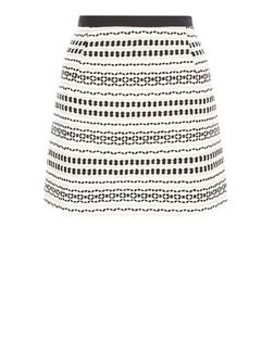 White Aztec Texture Mini Skirt  | New Look