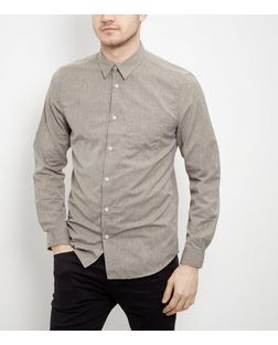 Light Brown Textured Single Pocket Long Sleeve Shirt  | New Look