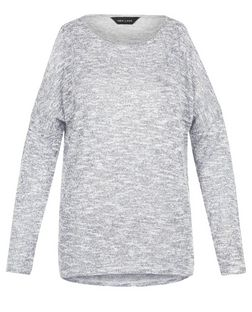 Grey Fine Knit Cold Shoulder Long Sleeve Top  | New Look
