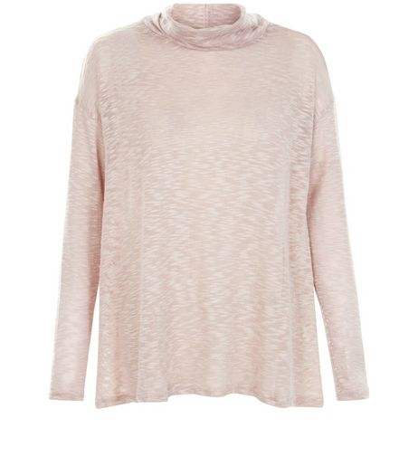 Pink Fine Knit Cowl Neck Slub Top  | New Look
