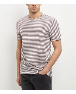 Burgundy Stripe T-Shirt  | New Look