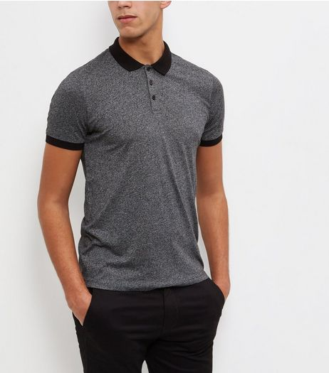 Dark Grey Contrast Trim Polo Shirt | New Look