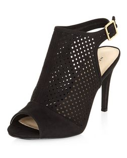 Black Comfort Suedette Perforated Heels  | New Look