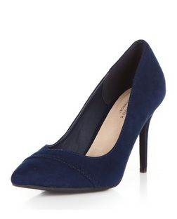 Navy Comfort Plaited Trim Pointed Court Shoes  | New Look