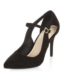 Black Comfort Cut Out Ankle Strap Heels  | New Look