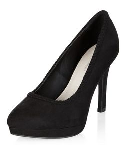 Wide Fit Black Comfort Plaited Trim Court Shoes  | New Look