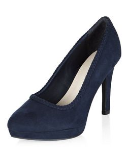 Wide Fit Navy Comfort Plaited Trim Court Shoes  | New Look