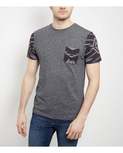 Dark Grey Aztec Print Single Pocket T-Shirt  | New Look