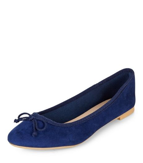 Navy Suedette Ballet Pump  | New Look