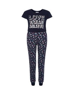 Teens Blue Love Dream Believe Floral Print Pyjama Set | New Look