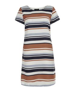 Blue and Orange Stripe Cap Sleeve Tunic Dress  | New Look