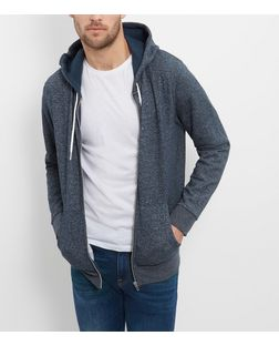 Navy Space Dye Zip Up Hoodie  | New Look