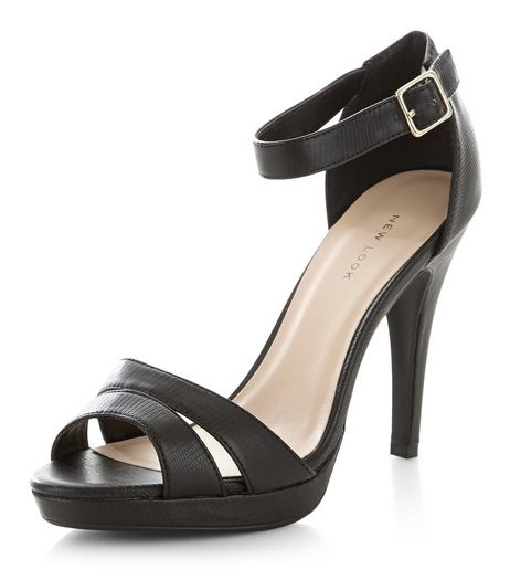 Black Double Strap Platform Heels  | New Look