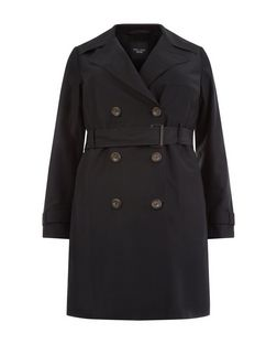 Plus Size Black Belted Trench Coat  | New Look