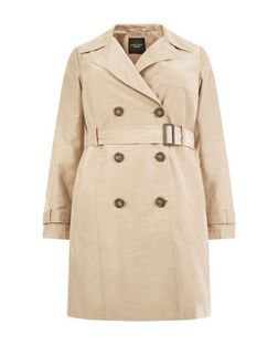 Plus Size Camel Belted Trench Coat | New Look