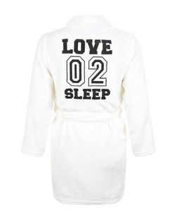 Teens Cream Love 02 Sleep Print Dressing Gown | New Look
