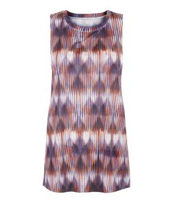 Orange Mesh Abstract Print Sports Tank Top  | New Look