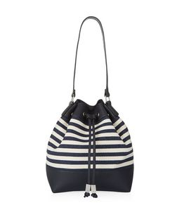 Navy Stripe Duffle Bag  | New Look