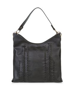 Black Woven Trim Shoulder Bag  | New Look