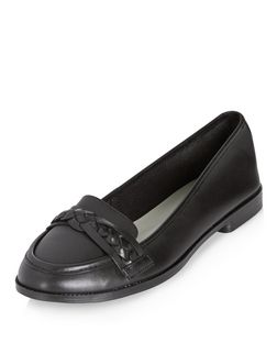 Black Leather Woven Strap Loafers  | New Look