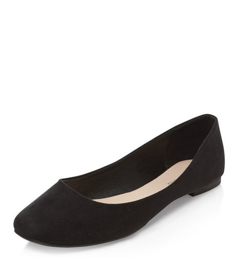 Black Square Toe Ballet Pumps | New Look