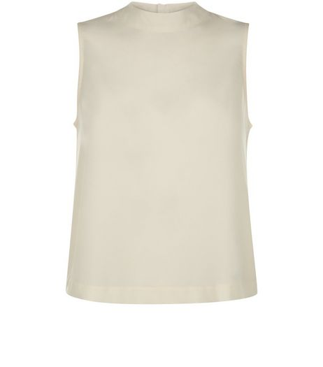 Teens Cream High Neck Zip Back Shell Top | New Look