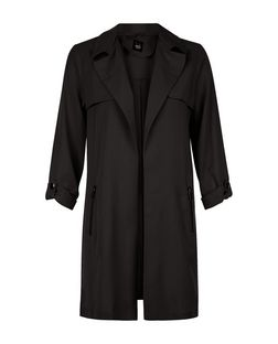 Teens Black Zip Pocket Trench Coat  | New Look