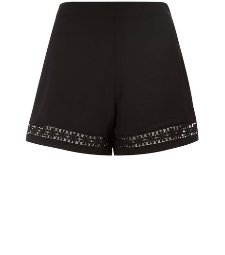 Teens Black Crochet Panel Shorts | New Look
