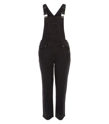 Black Denim Cigarette Dungarees | New Look