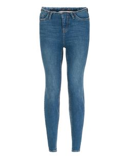 Blue Faded Raw Trim Skinny Jeans  | New Look