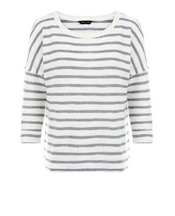 White Textured Stripe 3/4 Sleeve Top  | New Look