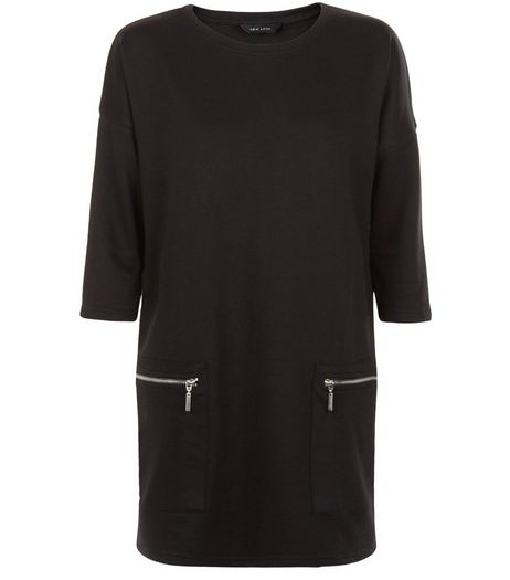 Black Zip Pocket Longline Tunic Top  | New Look