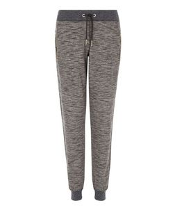 Dark Grey Space Dye Zip Pocket Joggers  | New Look