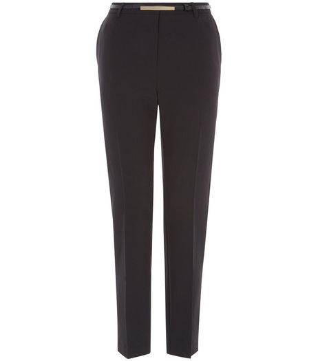 Black Belted Slim Fit Trousers  | New Look