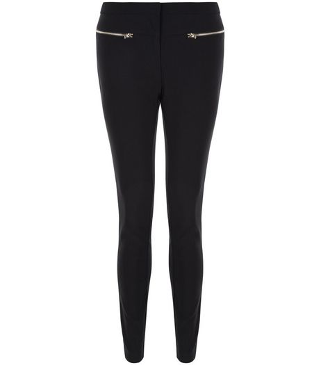 Black Zip Front Bengaline Slim Leg Trousers | New Look