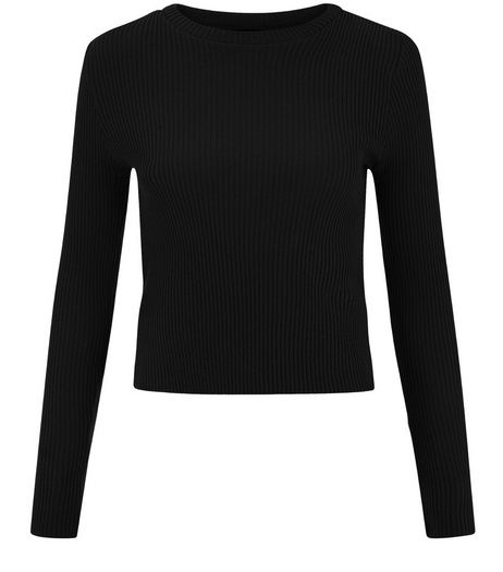 Teens Black Rib Long Sleeve Jumper | New Look
