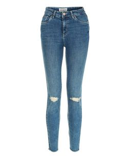 Blue Faded Ripped Knee Ankle Grazer Skinny Jeans  | New Look