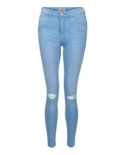 Light Blue Ripped Knee Skinny Jeans  | New Look